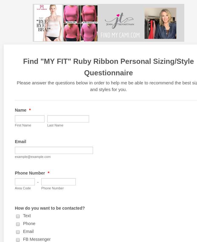 "Find ""MY FIT"" Ruby Ribbon Personal Sizing/Style Questionnaire"