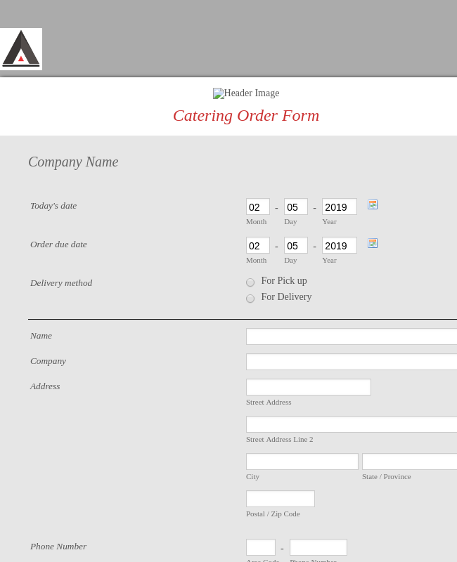 Catering Booking Form