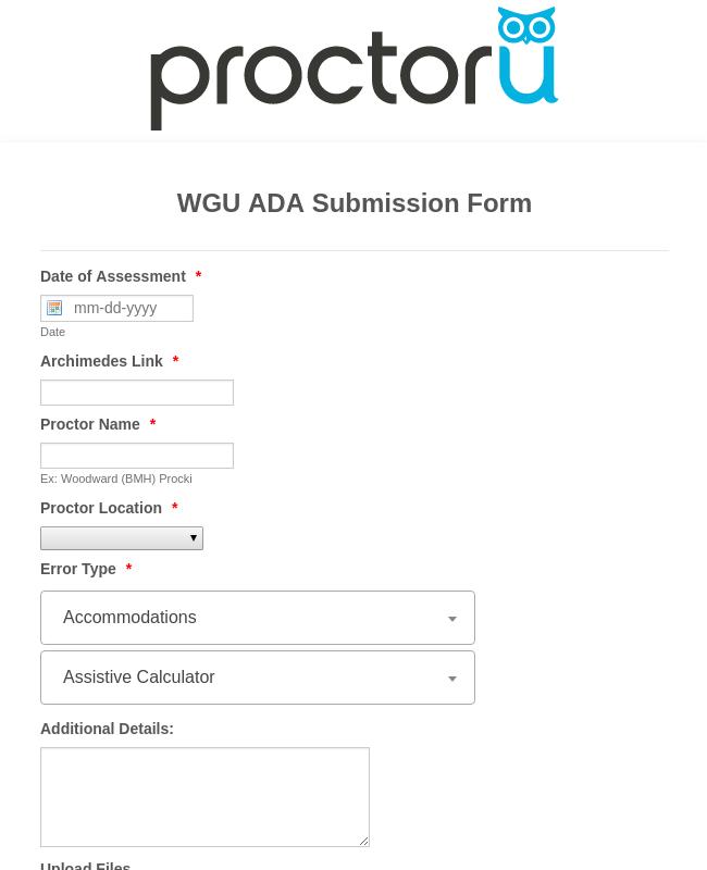 SandBox WGU ADA Submission Form