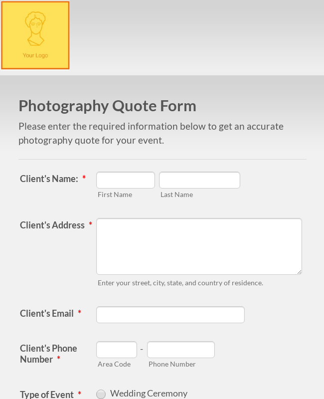 Photography Quote Form
