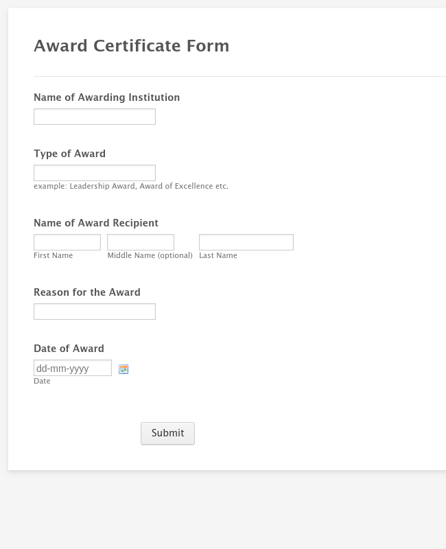 Award Certificate Form