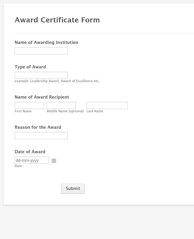 Award Certificate Form