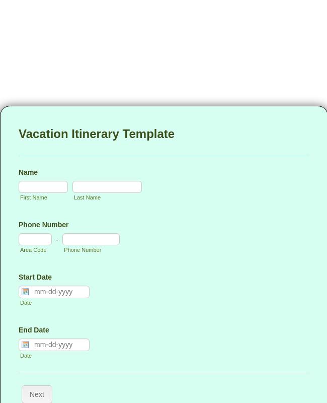 Vacation Itinerary Form