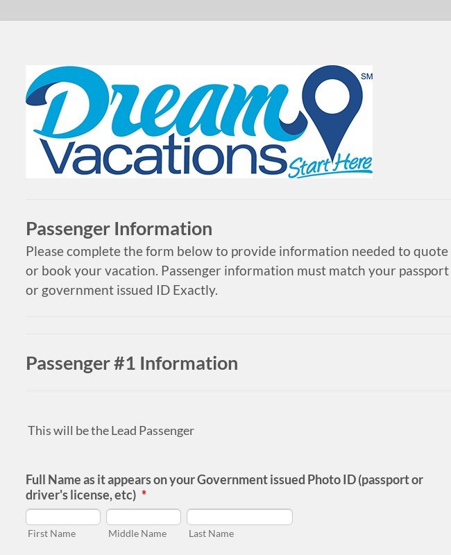 Dream Vacations Cruise Passenger Information Form