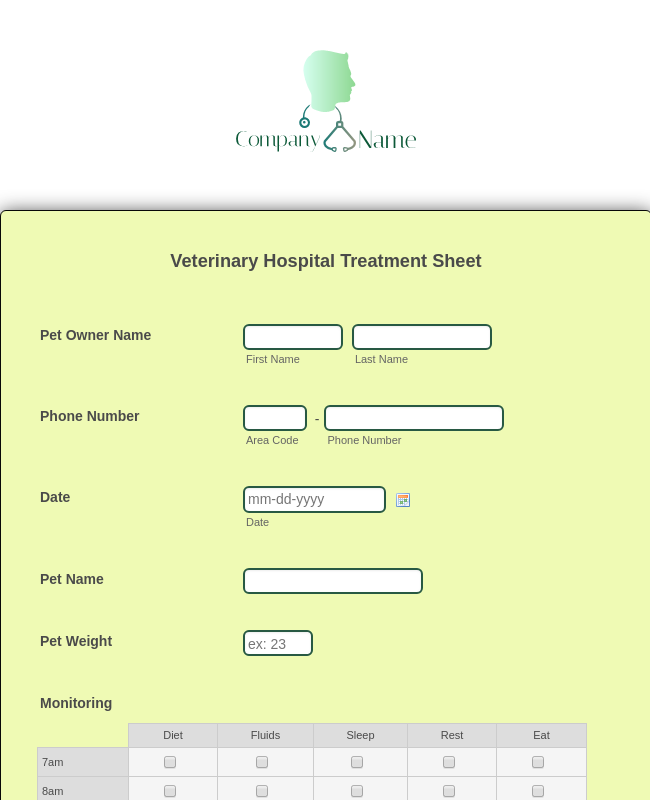 Veterinary Hospital Treatment Sheet