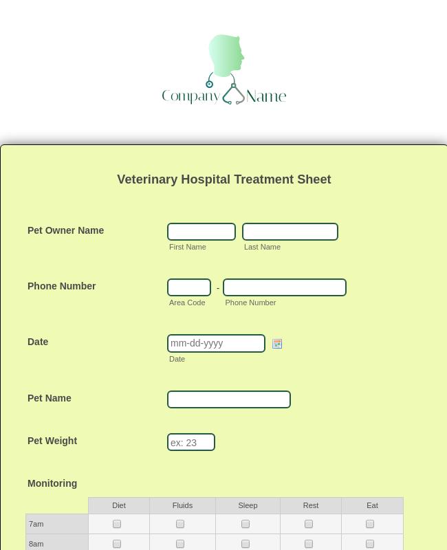 Veterinary Hospital Treatment Sheet