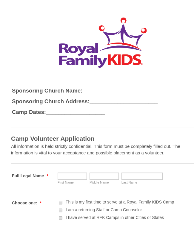 RFK New Camp / Staff Volunteer Application 2019