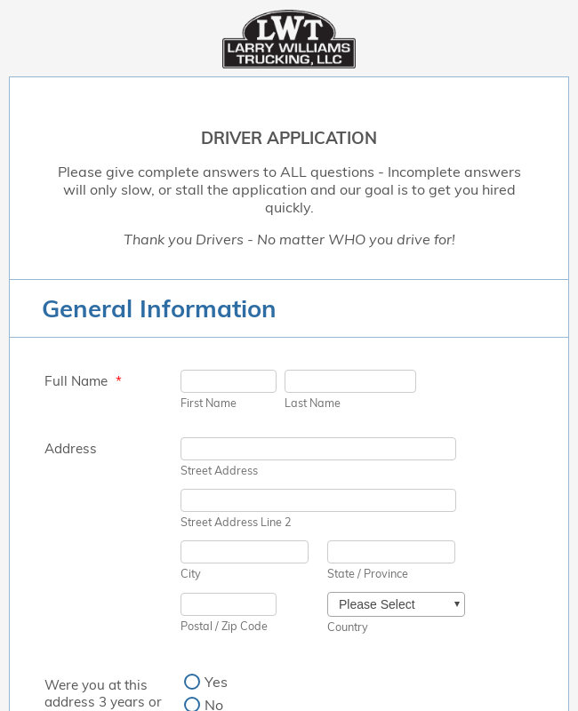 LWT Truck Driver Application