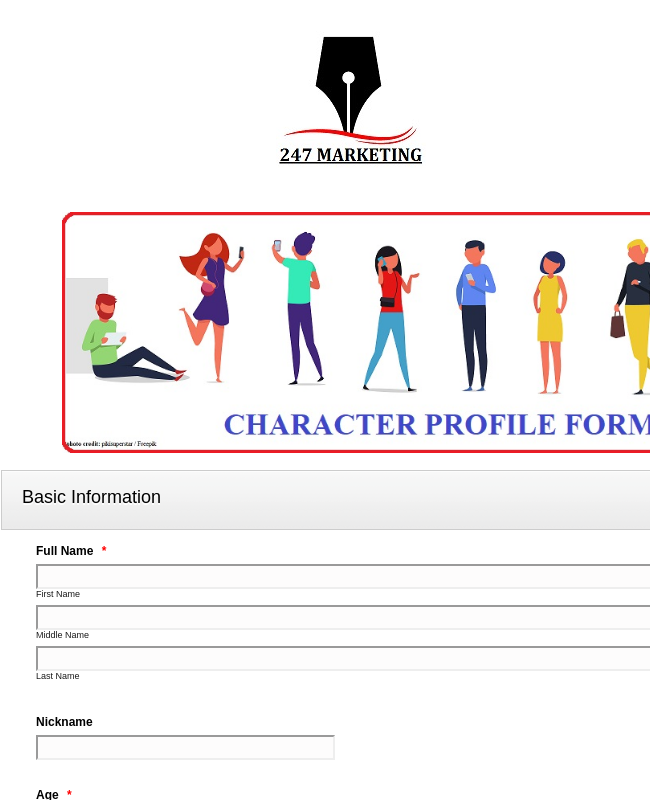 Character Profile Form