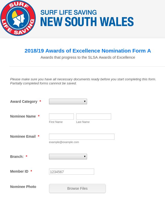 SLSNSW National Volunteer Awards - 2018/19 Season