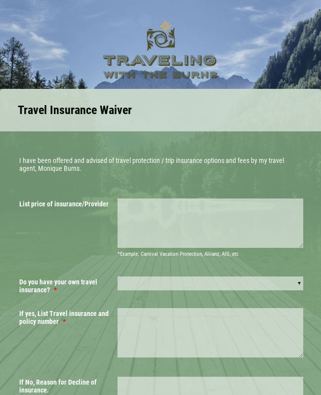 Evolution Travel Insurance Waiver