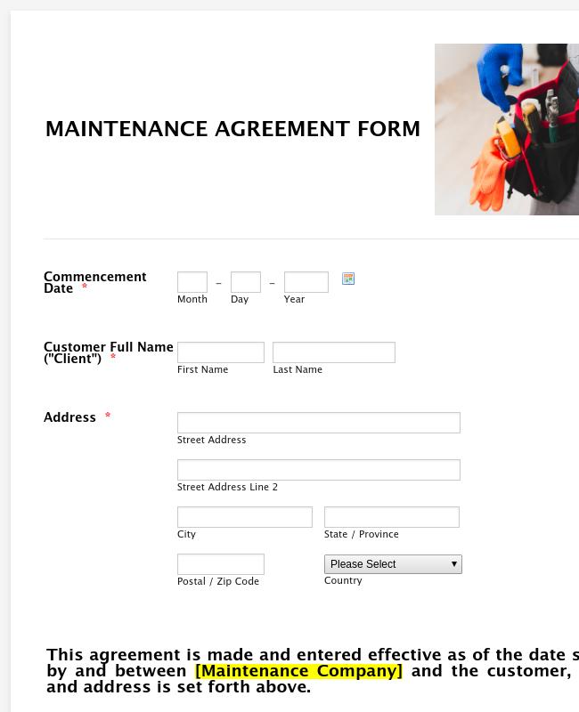 Maintenance Agreement Form