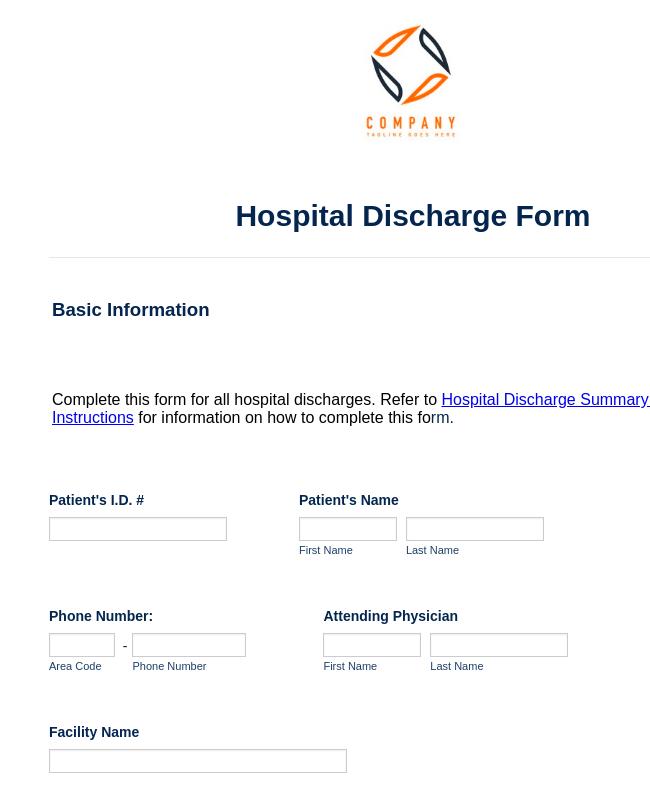 Hospital Discharge Form Template Jotform