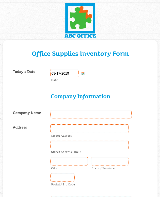 Office Supplies Inventory Form