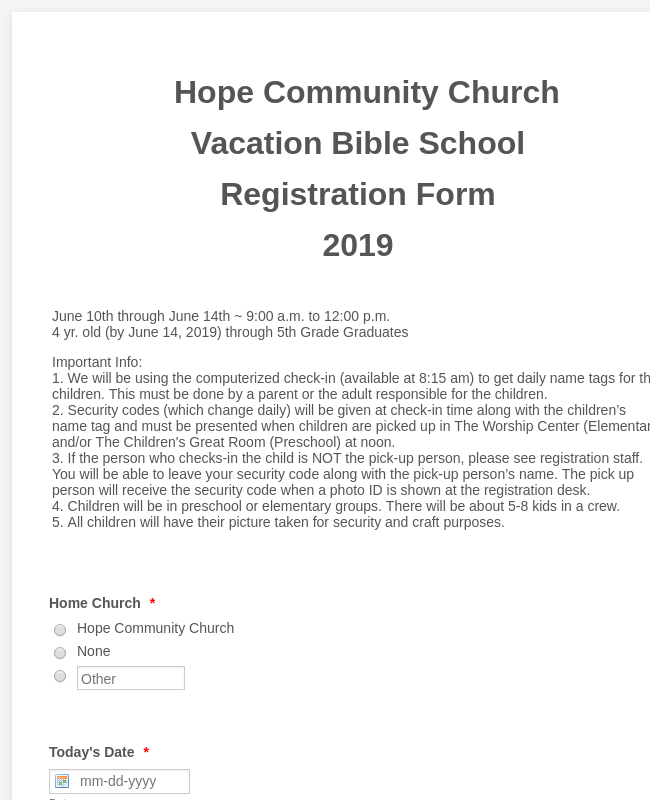 Hope Community Church Vacation Bible School Registration Form 2019