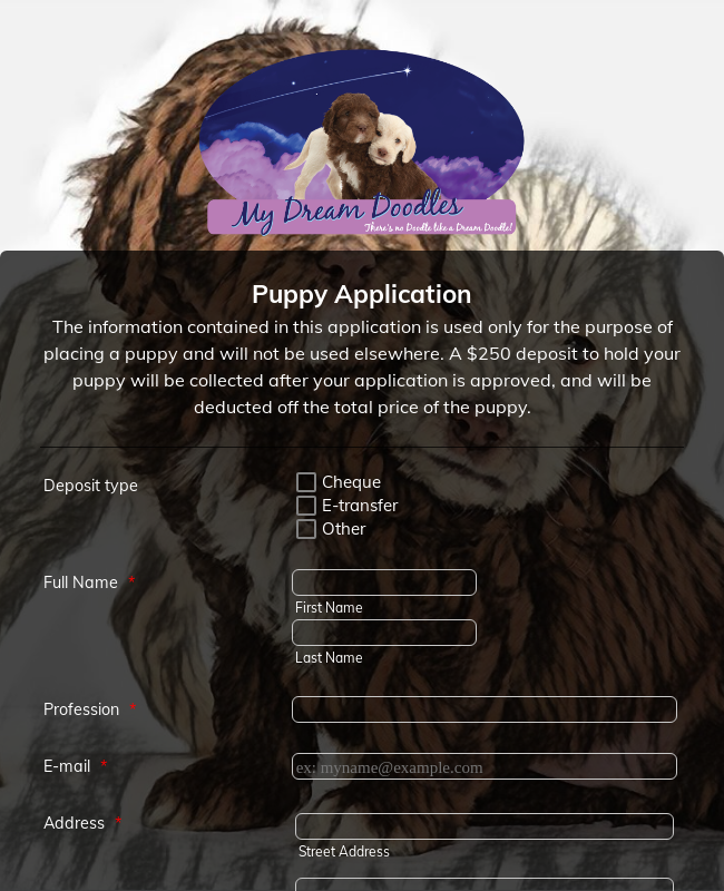 Puppy Application form