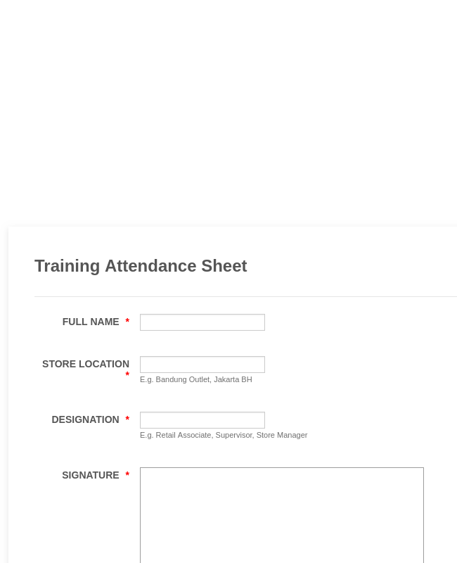 Training Attendance Sheet