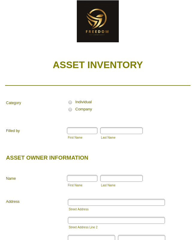 Asset Inventory Form