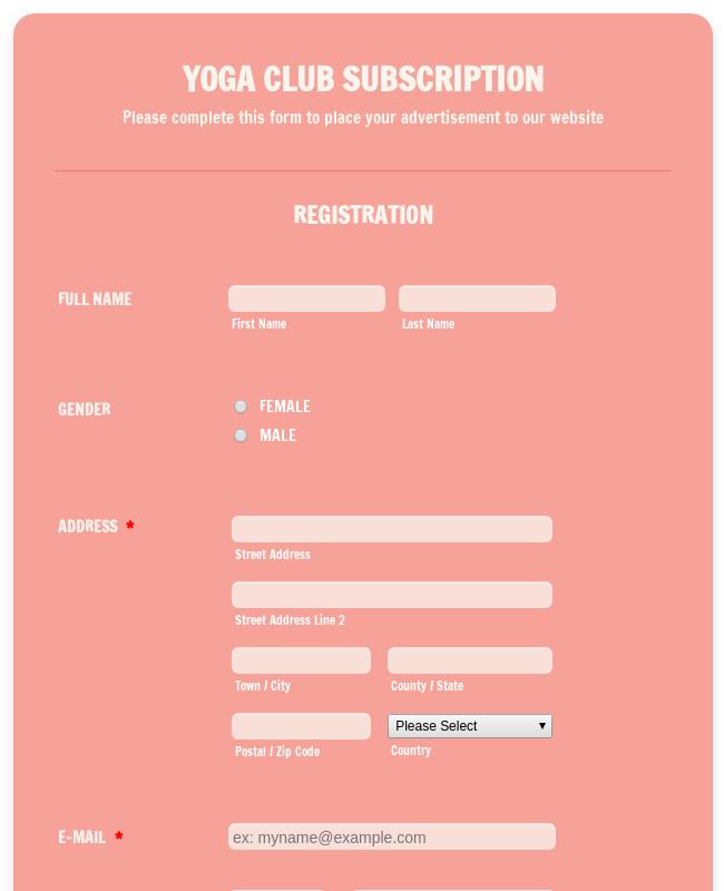 Yoga Club Registration Form