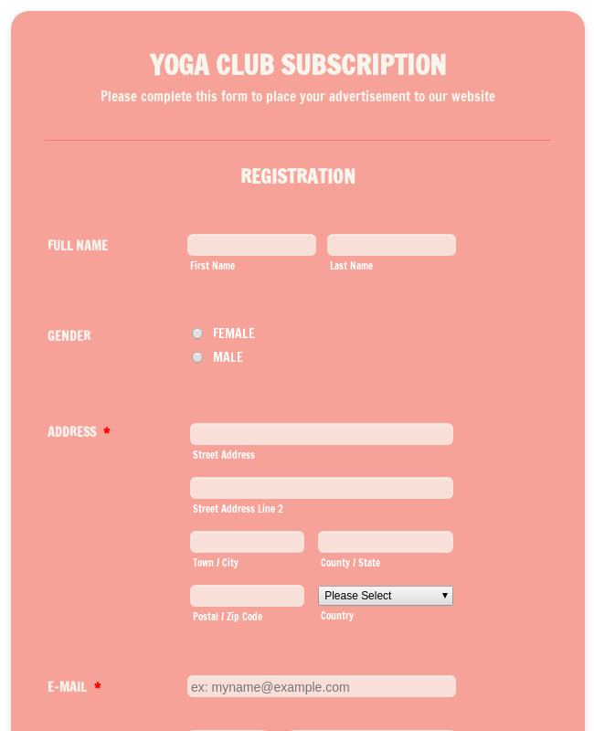 Yoga Club Registration Form