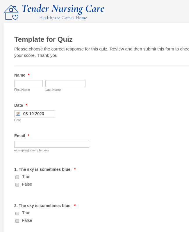 Template for Quiz