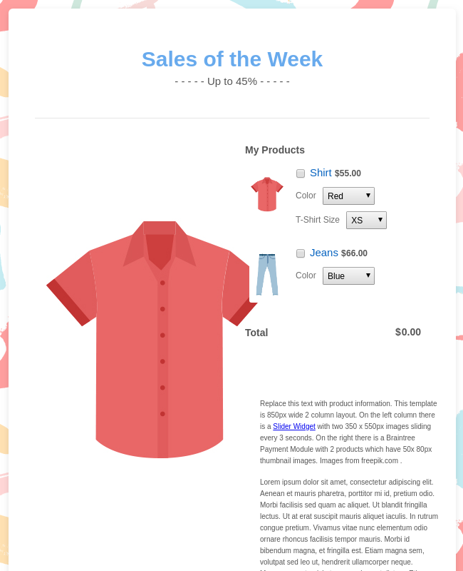 Clothing Order Form Template - WorldPay UK