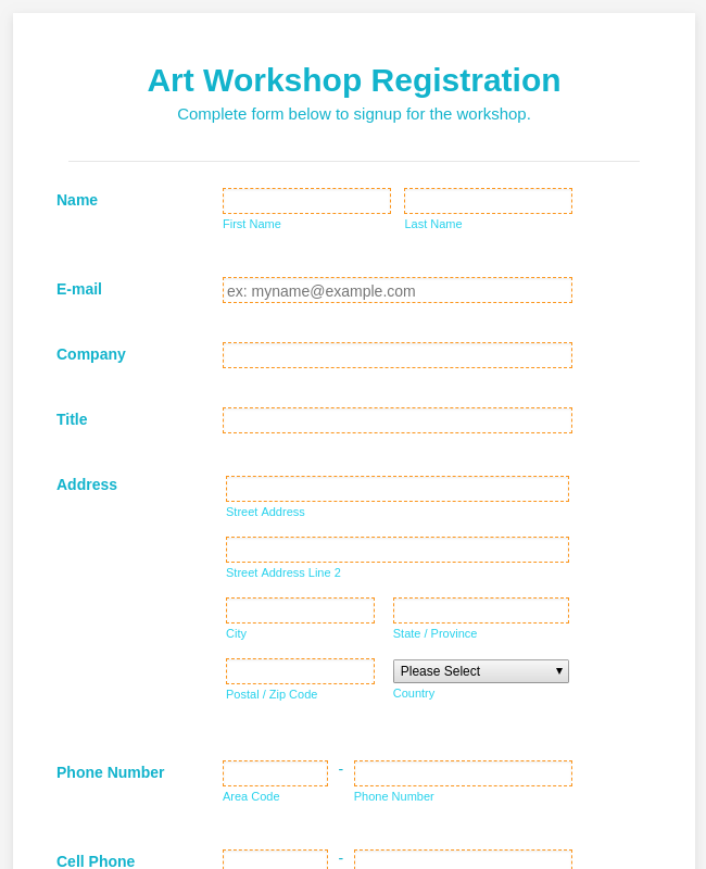 Art Workshop Registration Form - WorldPay UK Payment Form