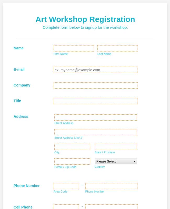 Art Workshop Registration Form   WorldPay UK Payment Form