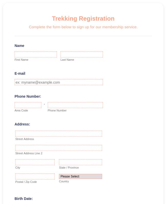 Participant Application Form Template | JotForm