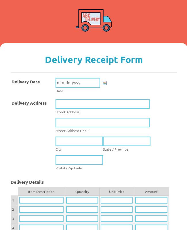Delivery Receipt Form