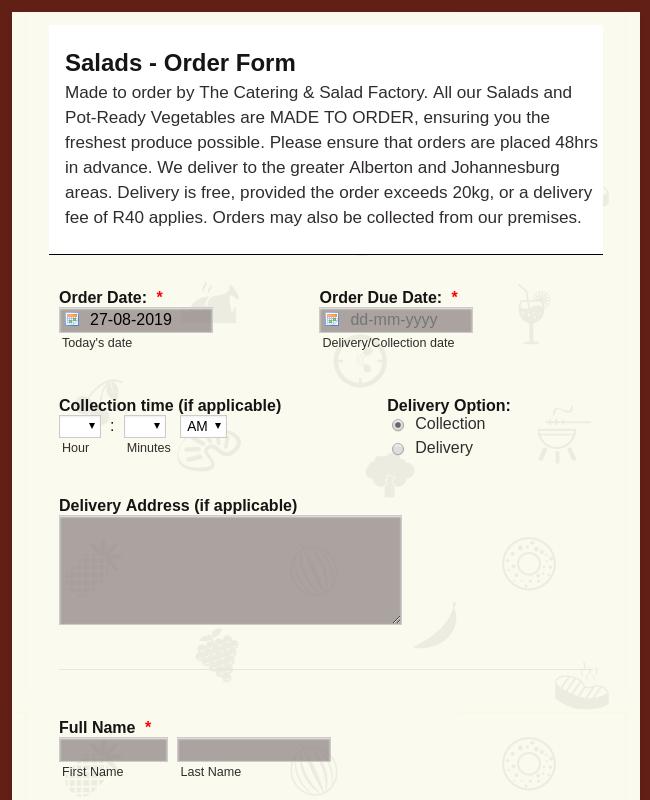Salads Order Form
