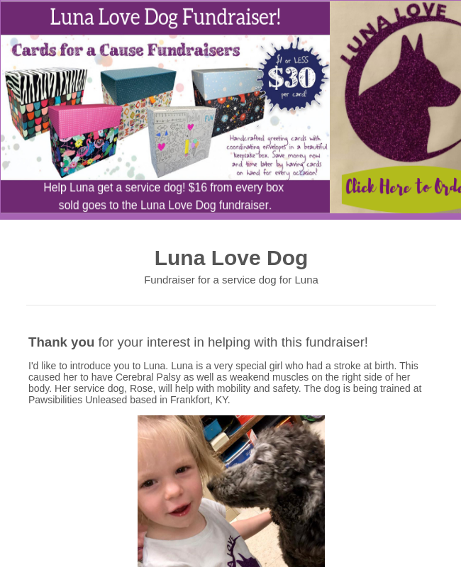 Luna Love Dog Fundraiser!