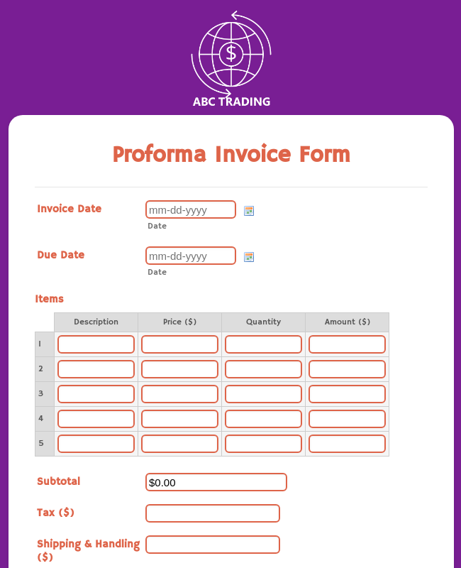 Proforma Invoice Form