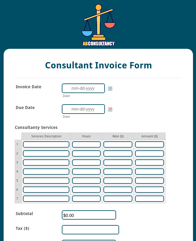 Consultant Invoice Form