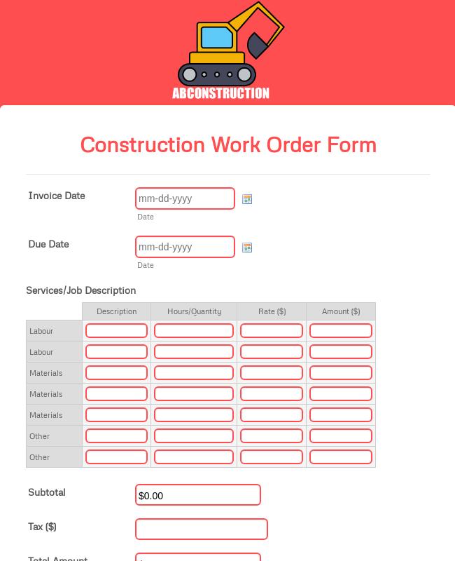 Construction Work Order Form