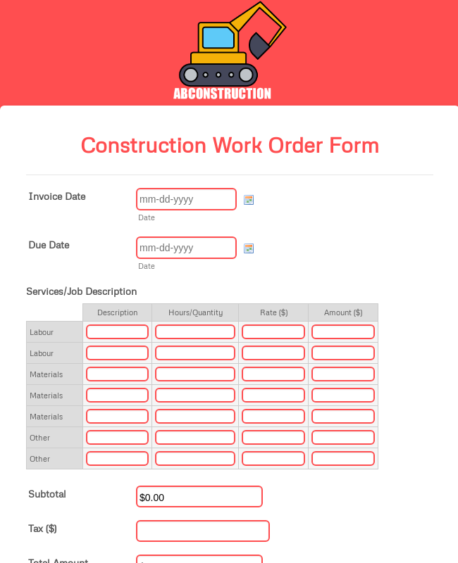 Construction Work Order Form