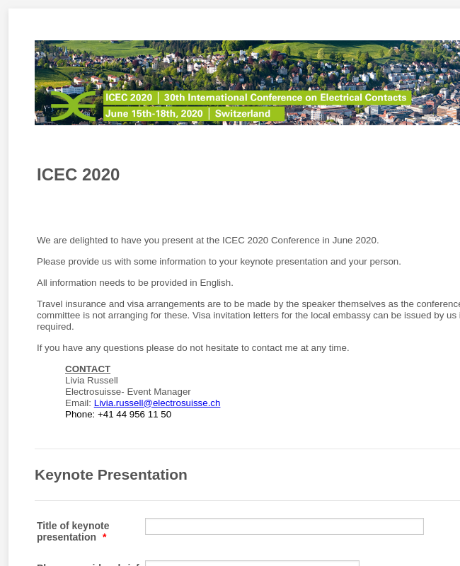 Keynote Speaker Submissions