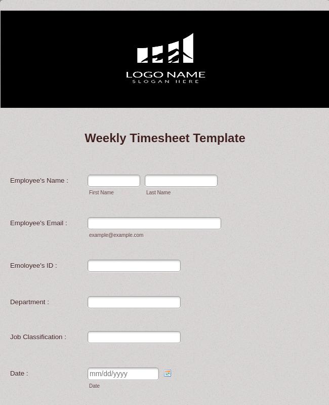 Weekly Timesheet Form