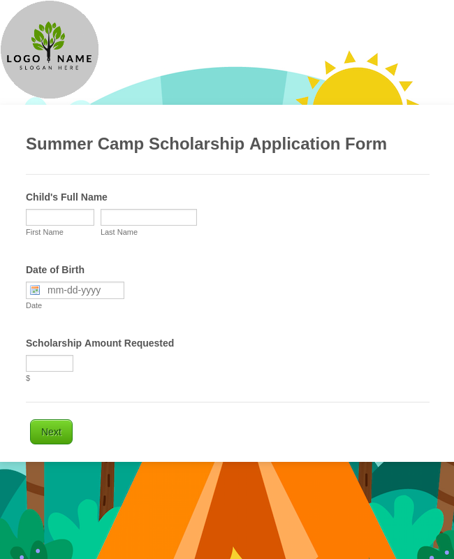 Summer Camp Scholarship Application Form