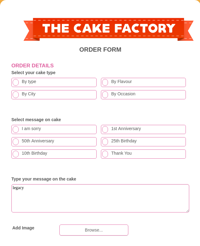 Cake Factory Order Form