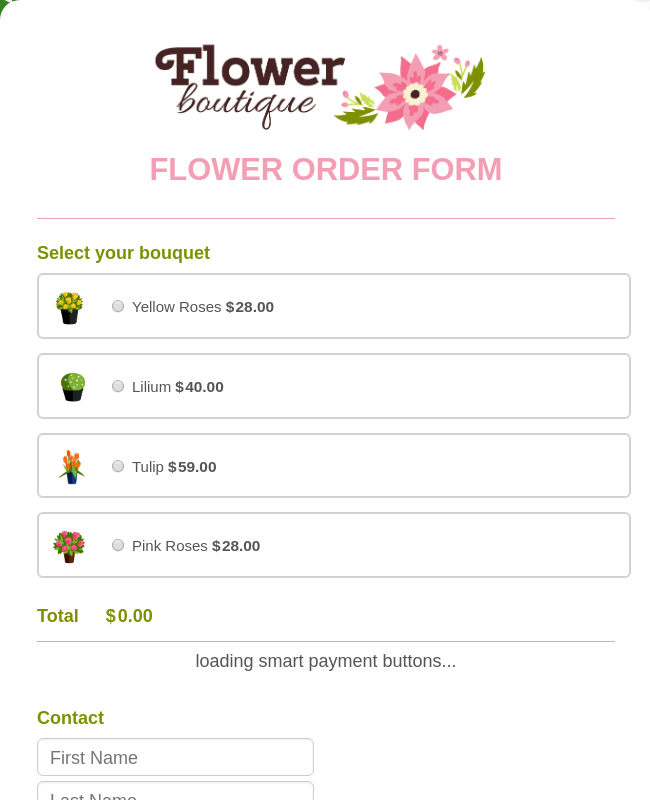 Online Flower Order Form