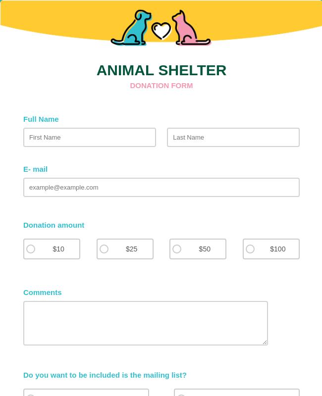 Animal Shelter Donation Form