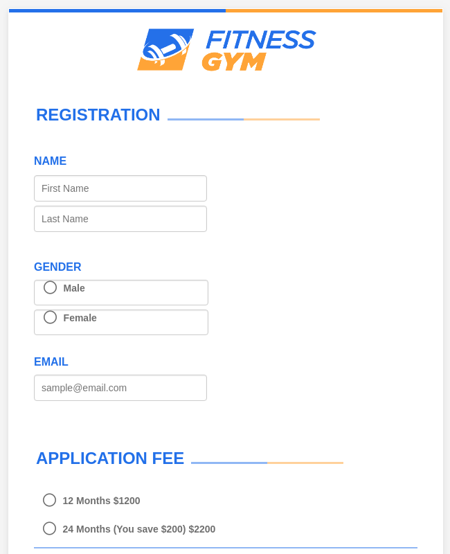 Fitness Gym Registration Form