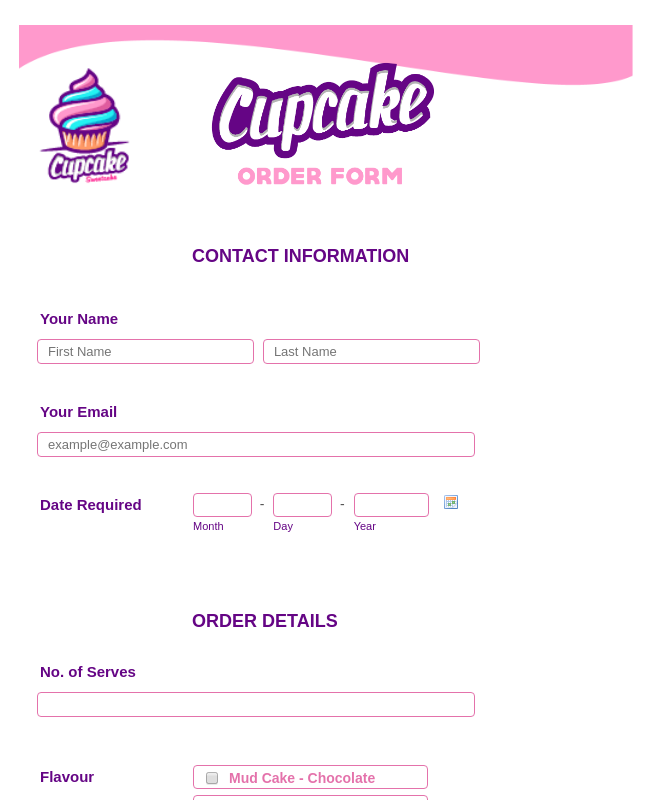 Colorful Cupcake Order Form