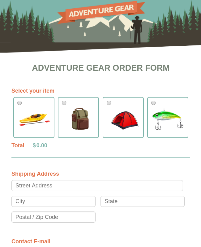 Camp Gear Order Form