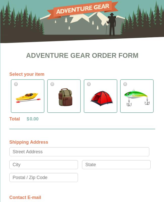 Camp Gear Order Form