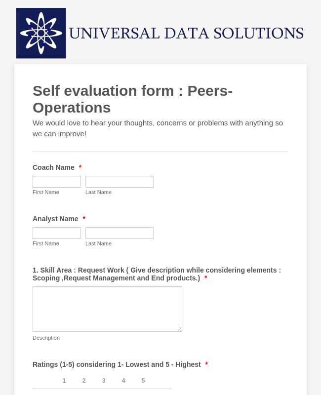 Self Evaluation Form : Peers  Operations