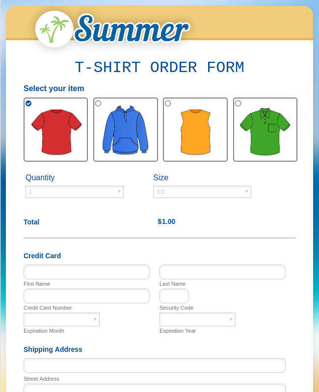 Summer T Shirt Order Form
