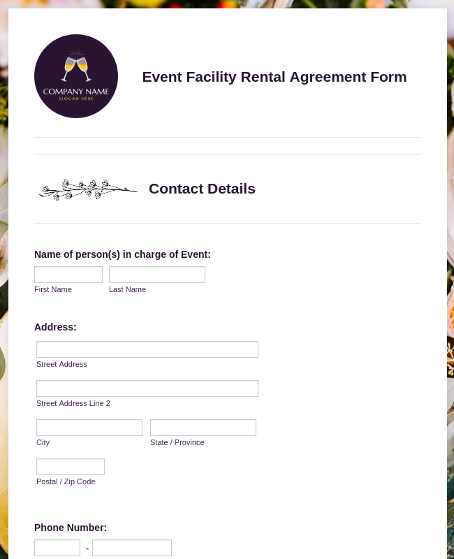 Event Facility Rental Agreement Form