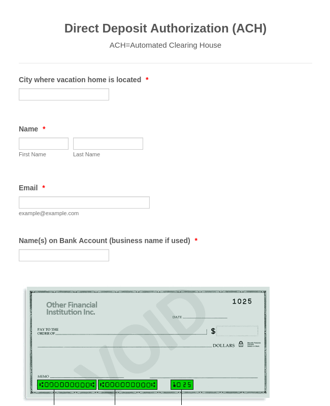 Bank Authorization Ach Form Template Jotform